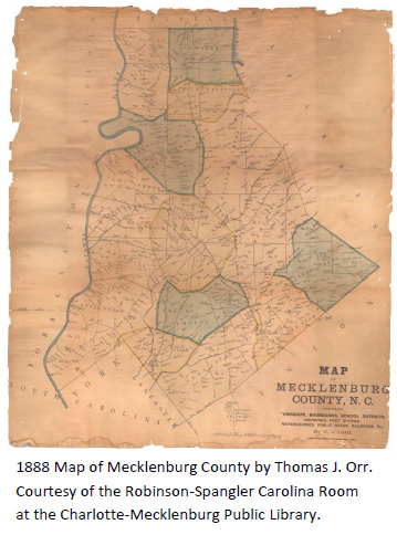 1888 Mecklenburg County Map by Thomas J. Orr